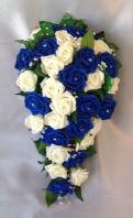 ARTIFICIAL FLOWERS IVORY/ROYAL BLUE ROSE BRIDE WEDDING SHOWER BOUQUET TEARDROP